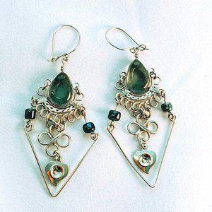 Jewelry - Silver Tone Black Grey Dangle Earrings